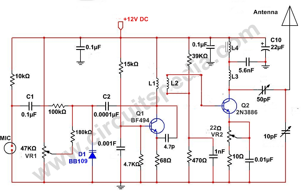 two stage fm transmitter 43 notes &  august 31, 2011 two stage fm transmitter bug - tunable tank circuit we continue on our schematic analysis saga of the two stage fm transmitter.