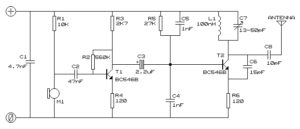 Long range small FM transmitter circuit diagram