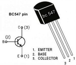 BC547 Pin configuration