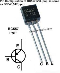 Transistor BC557, BC558, BC547, BC548 Pin Cinfiguration
