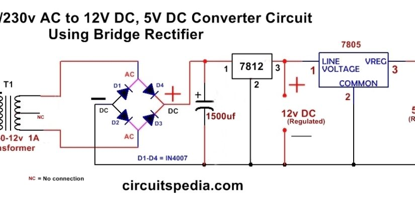 220/230v ac to 12v/5v dc regulated power dc converter bridge rectifier  circuitspedia
