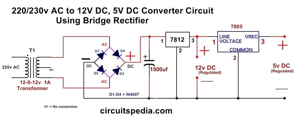 220 230v ac to 12v 5v dc regulated power dc converter bridge rectifier rh circuitspedia com 240v ac to 12v dc power supply circuit diagram regulated dc power supply circuit diagram