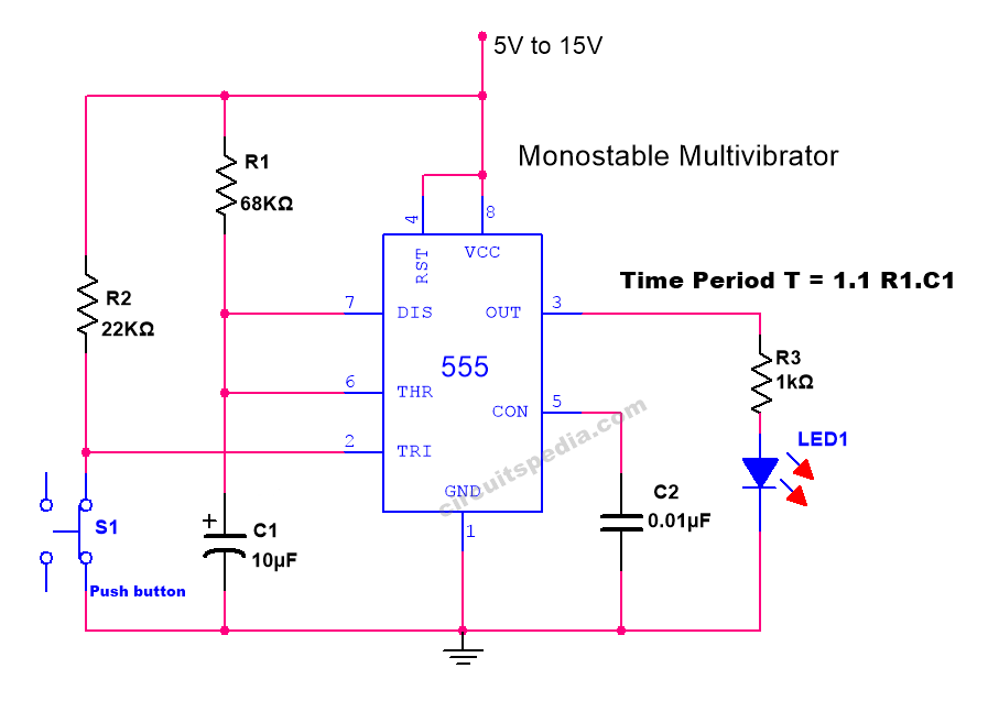 555 timer monostable multivibrator operation