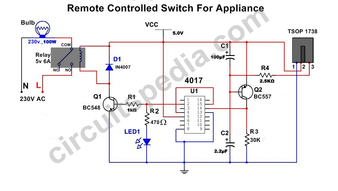 remote control switch circuit remote control on off switch rh circuitspedia com circuit diagram remote control circuit diagram remote control fan