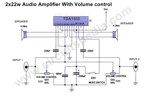 high power stereo audio amplifier circuit 44w stereo audio amplifier rh circuitspedia com stereo amplifier schematic diagram stereo amplifier circuit diagram pdf