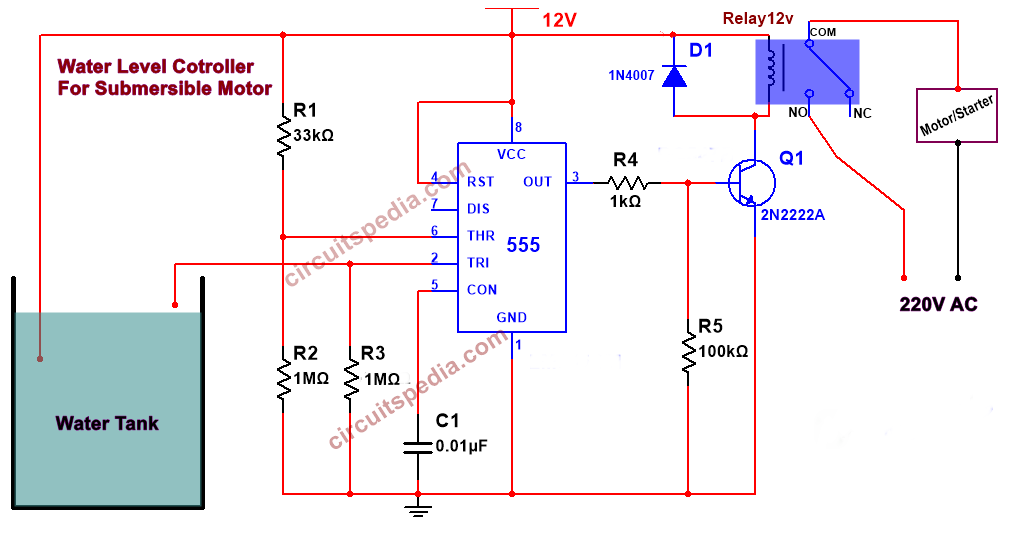 Automatic Water Pump Controller Circuit For Submersible Motor Using 555