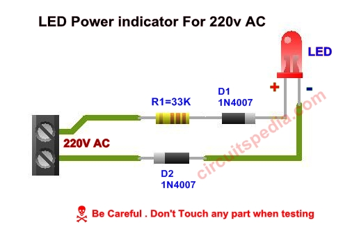 how to connect single led with 220v ac