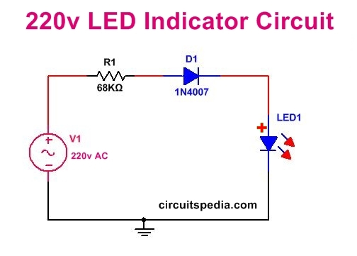 led power indicator circuit for 230v 240v ac mains, single led on