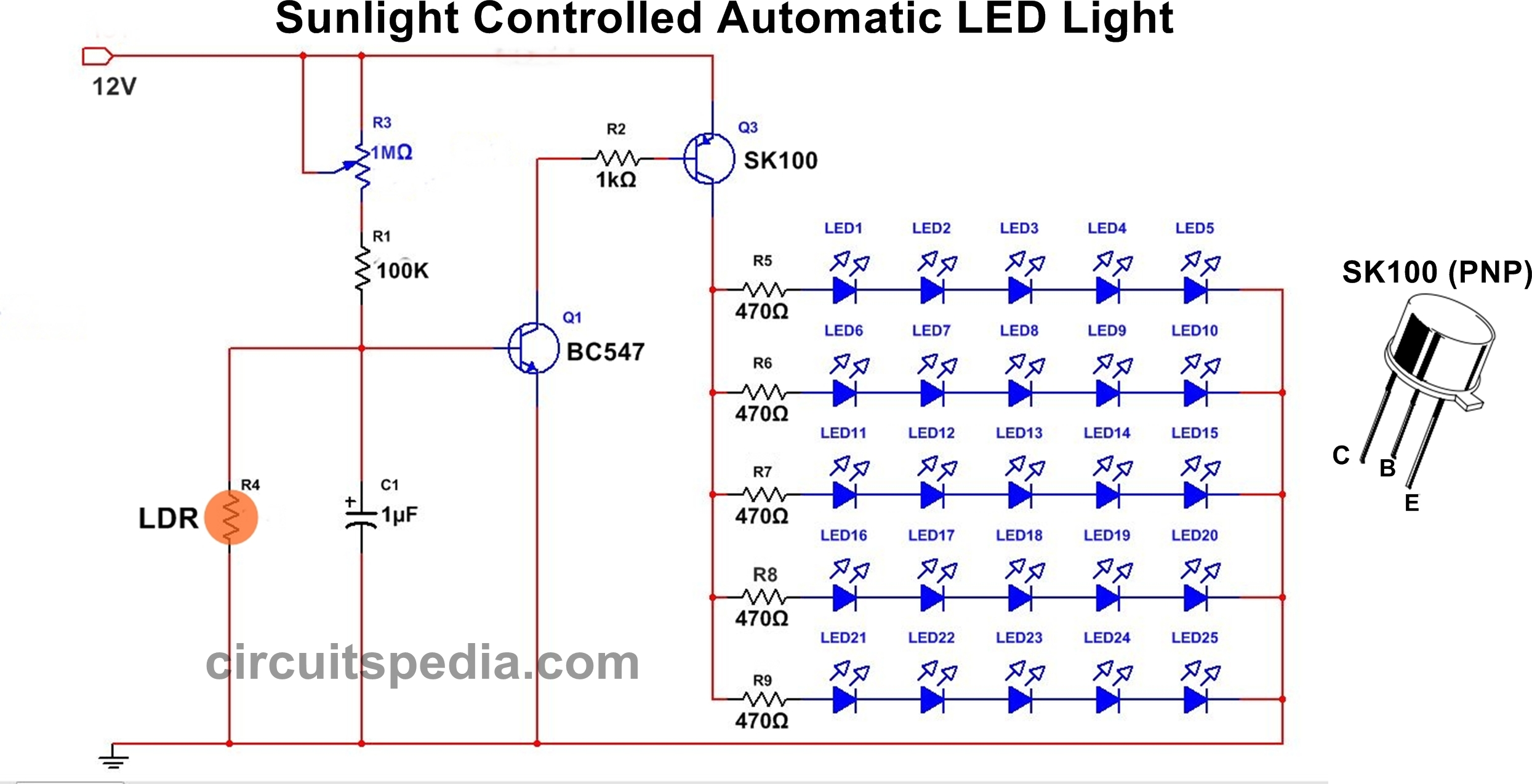 Light activated switch circuit diagram using transistor |Light ...