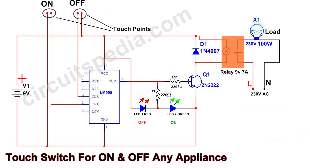 555 Circuit Diagram Touch On Off Switch For Appliance Using