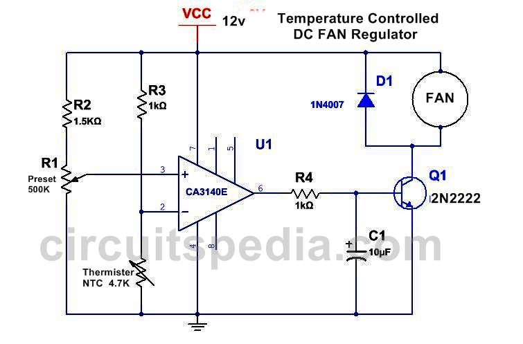 automatic dc fan controller using thermister for cpu and amplifier rh circuitspedia com