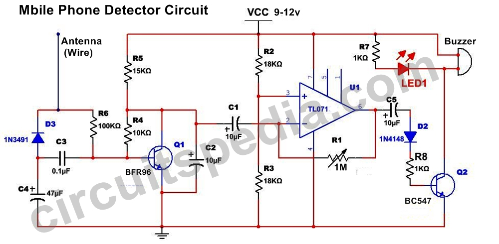 Mobile phone sensor circuit mobile phone detector project circuit this circuit can detects the rf signal from mobile phone and give a signal through sound and led glow this pocket sized mobile communication detector or ccuart Gallery