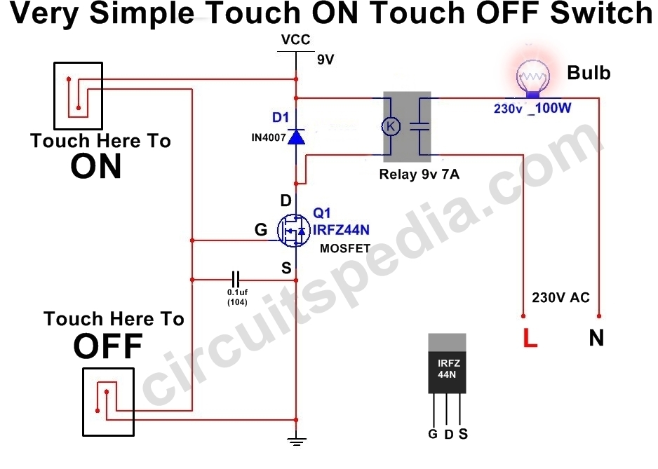 ON OFF Touch Switch | Simple Touch ON Touch OFF Switch Circuit