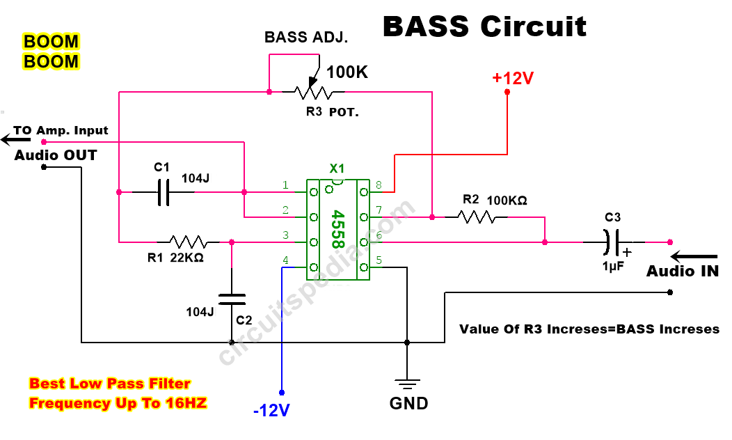 Bass booster circuit for amplifier