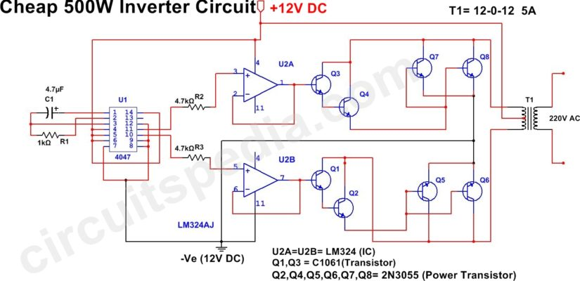 500w inverter circuit 12v dc to 220v ac inverter circuit diagram rh circuitspedia com 12v solar inverter circuit diagram 12v inverter circuit diagram free download