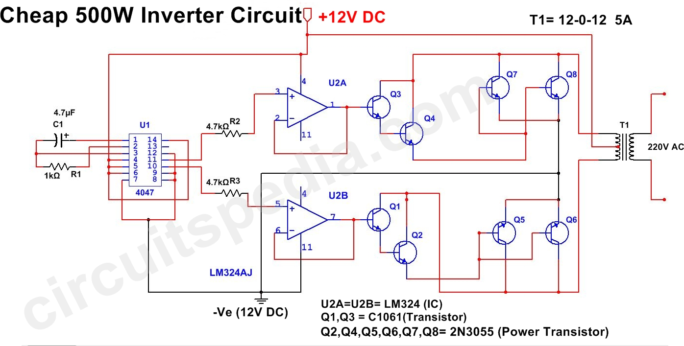 500W Inverter Circuit | 12v DC to 220v AC Inverter Circuit ...