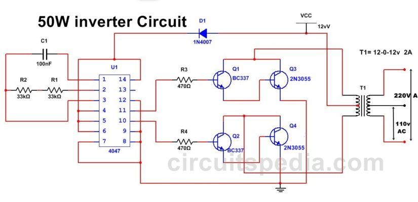 50w 220v inverter circuit diagram using ic 4047 50w inverter circuit rh circuitspedia com Sine Wave Inverter Circuit Diagram Inverter Schematic Diagram