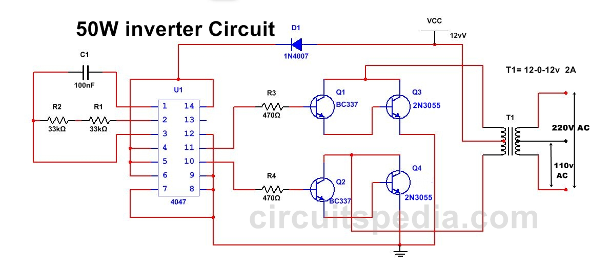 50w 220v inverter circuit diagram using ic 4047 50w inverter circuit rh circuitspedia com 3000W Inverter Wiring Diagram 3000W Inverter Wiring Diagram