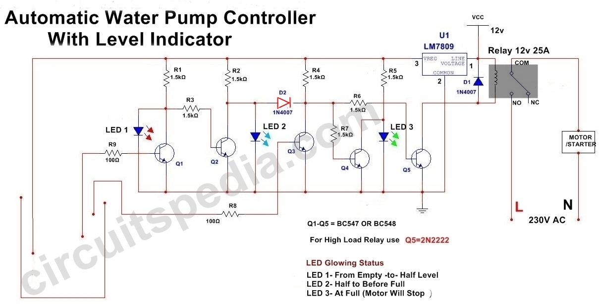 Automatic Water Pump Controller Circuit With Indicator