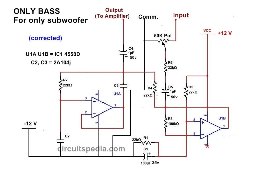 ic 4558 subwoofer bass booster circuit diagram , bass circuit for woofer power circuit diagram subwoofer bass circuit for music player