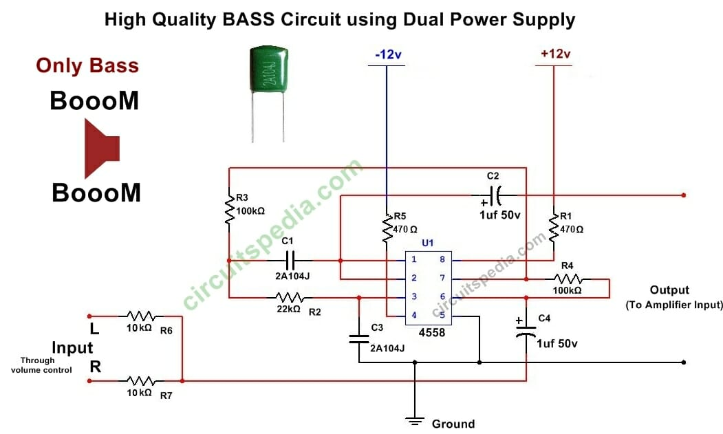 ic 4558 subwoofer bass booster circuit diagram bass circuit for woofer rh circuitspedia com JRC4558 Pre Amp Circuits JRC4558 IC Chip
