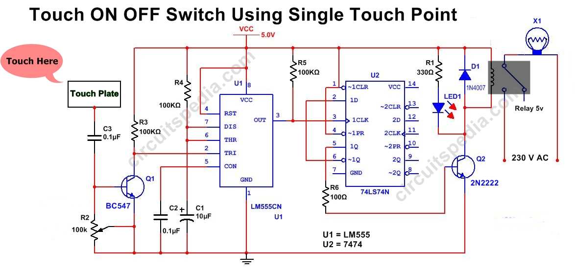 on off touch switch circuit diagram tradeoficcom wiring diagram save Power Switch Wiring Diagram