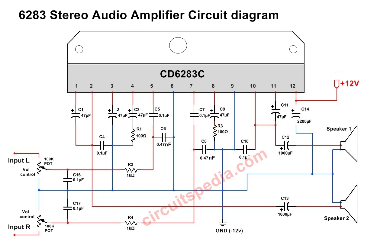 A6283 Cd6283 Stereo Audio Amplifier Circuit Diagram 6283 Ic Connection Tone Generator