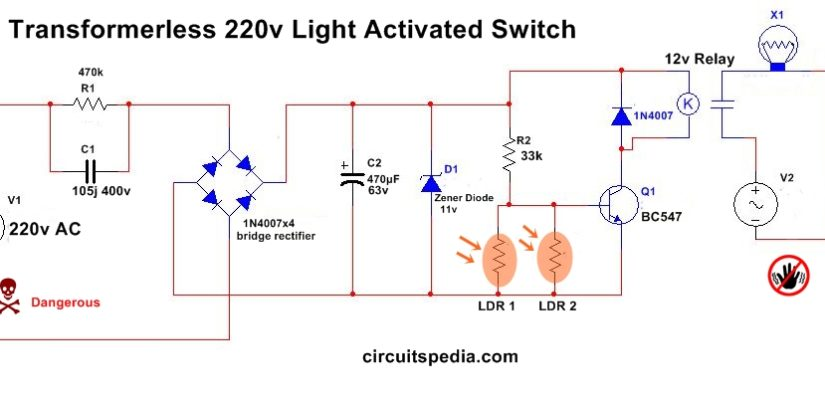 Automatic Night Light Circuit Diagram With LDR Without Transformer ...