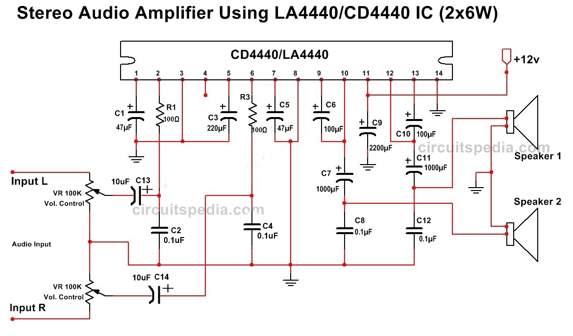 La4440 Cd4440 Tda4440 Stereo Audio Amplifier Circuit Diagram