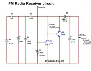 Simple FM Radio Receiver circuit diagram