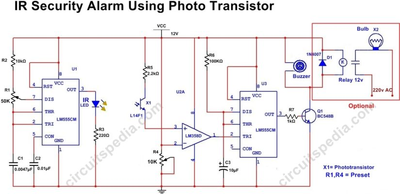 Infrared Door Security Alarm circuit diagram