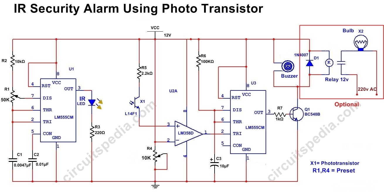 Infrared security alarm using phototransistor circuitspedia infrared door security alarm circuit diagram pooptronica Gallery