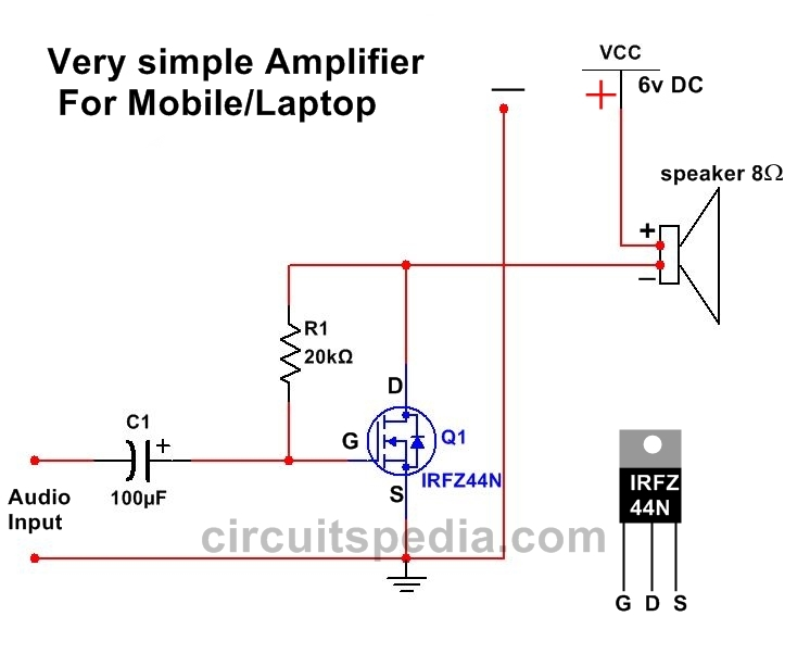 Very simple Audio Amplifier circuit Diagram For Mobile/Laptop