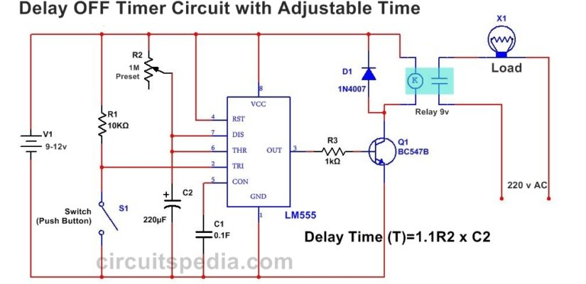 555 Delay OFF Timer circuit For Delay Before Turn OFF circuit on ic 555 timer diagram, well pump pressure switch diagram, off delay timer triac, hks turbo timer diagram, light timer for lighting diagram, dimmer switch installation diagram, timer switch diagram, off delay relay,
