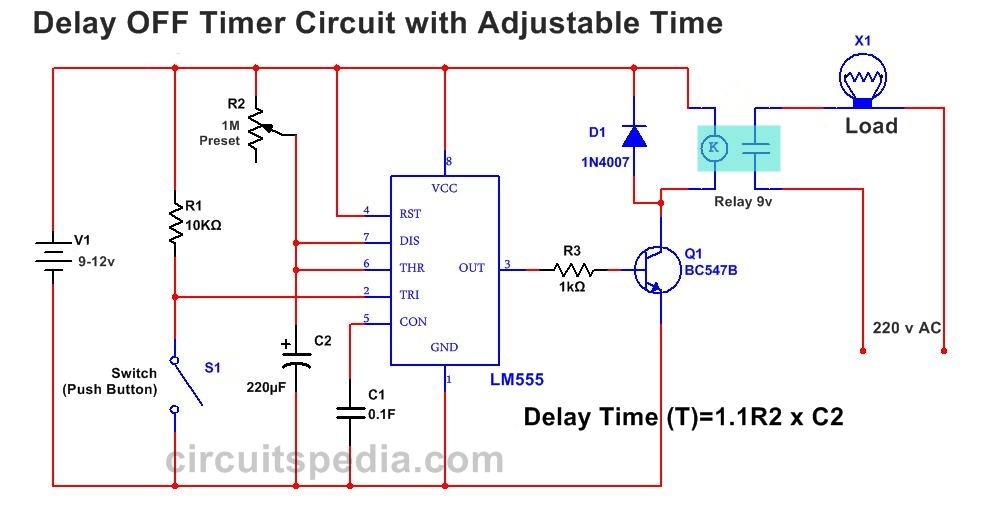 555 delay off timer circuit for delay before turn off circuit  wiring diagram for a off delay timer #3