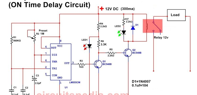 ON Time Delay Timer Circuit Diagram For Switch ON Any Load After Some Duration