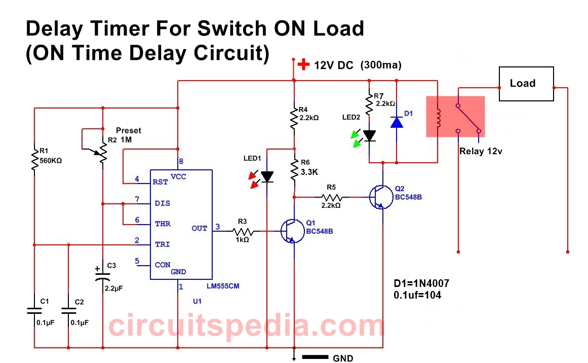 Power ON Time Delay Timer Circuit Diagram For Switch ON Any Load After Some Duration