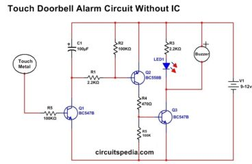 Touch Switch Circuit For Doorbell Alarm Without IC