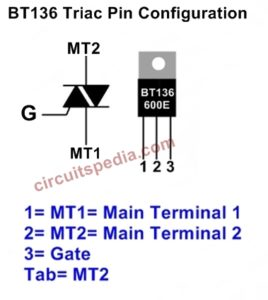 BT136 TRIAC Pin Diagram and Symbol