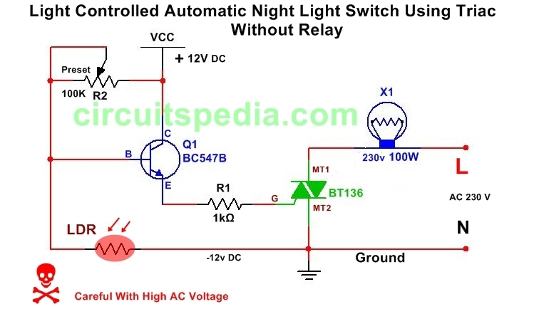Light Activated /Dark Activated Switch circuit diagram without relay