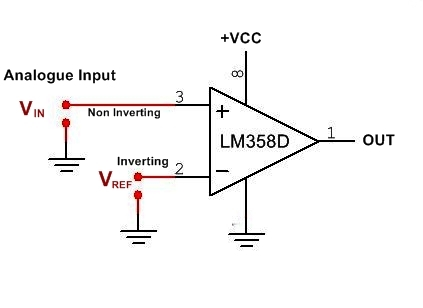 LM358 opamp comparator Pin