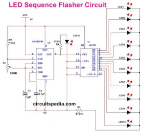10 LED Chaser flasher circuit diagram