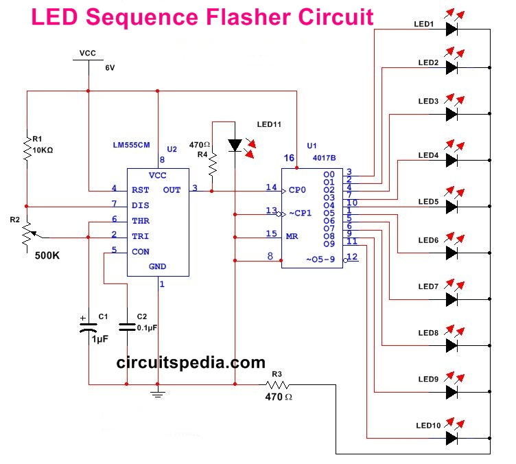 led chaser led flasher 10 led sequencer chaser flasher circuit