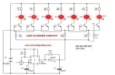 led chaser flasher circuit circuitspediahow to make a blinking led circuit with 555