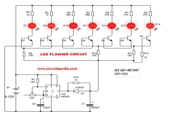 led flasher circuit diagram with 555 how to make blinking led circuit rh circuitspedia com flashing led project circuit diagram simple flashing led circuit diagram