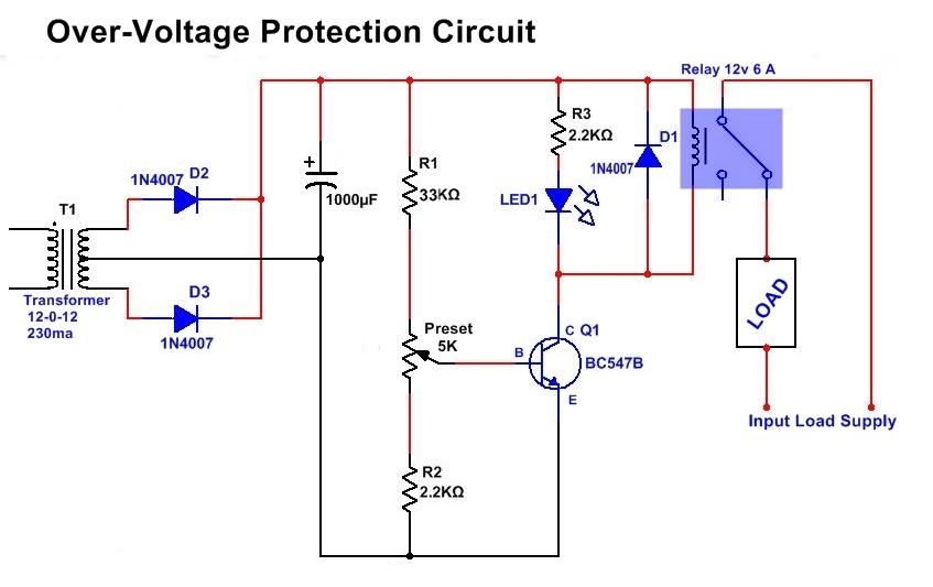overvoltage auto cutoff protection circuit