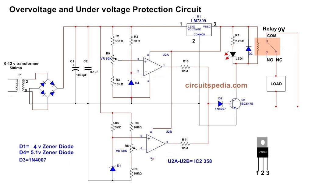 Over Voltage And Under Voltage Protection Circuit Diagram Using Comparator
