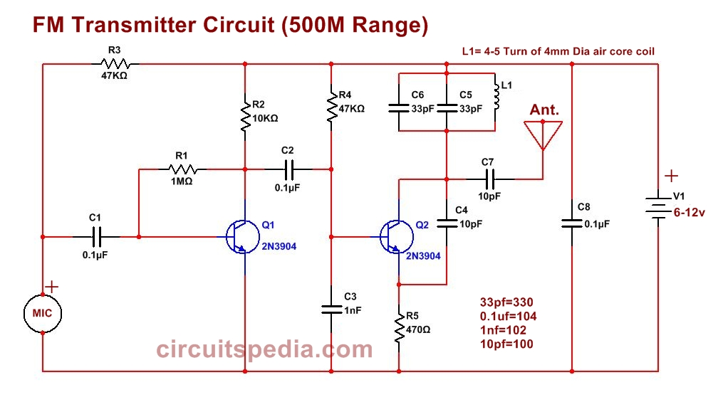 easy fm bug transmitter circuit