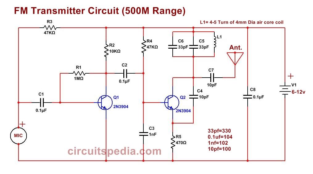 easy fm bug transmitter circuit