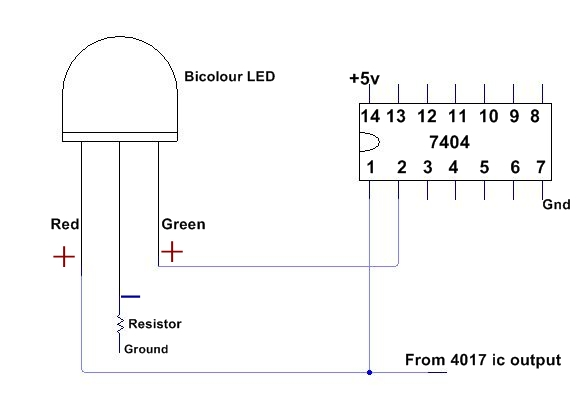 bicolour led flasher with 4017